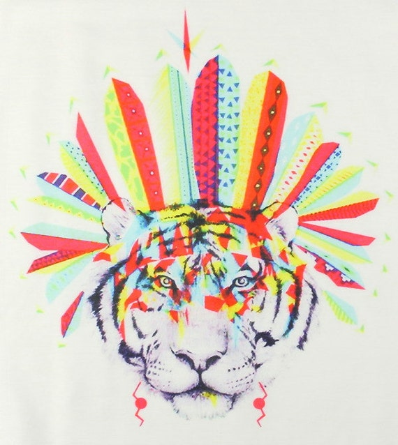 Tiger Warrior Tank, Headdress Tank Top, Festival Animal Shirt, Boho, Festival Wear, Hippie Clothes, Yoga, Meditation, Spiritual, Gypsy