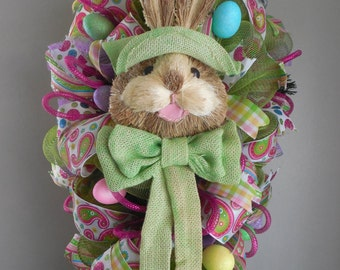 Easter Swag, Easter Wreath, Easter Bunny Swag, Easter Bunny wreath, Vertical Easter Wreath