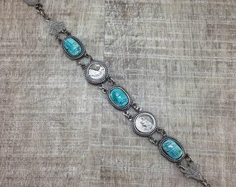 Stunning Vintage Estate Scarab Egyptian Nefertiti Silver Tone Bracelet