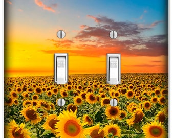 Sunflower Sunset Decorative Double Toggle Light Switch Cover - DecorativeSwitch Plate Cover