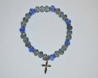 CLEARANCE Bracelet, 7.5 inch blue beaded stretch bracelet with charm