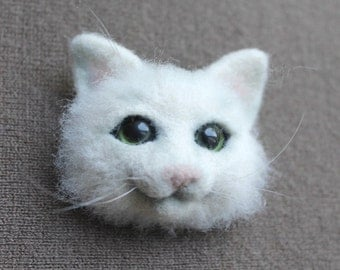 Cat brooch Needle felted cat brooch  Felt Brooch  Needle felted animal jewelry pin Original gift for woman Gift for mom Christmas Birthday