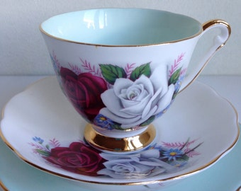 Queen Anne Vintage Tea Cup and Saucer Trio