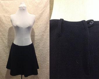 "1960s 70s Navy Blue A-Line Mini Mod Skirt Size M/L - 30"" Waist"