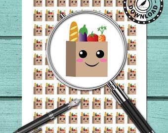Kawaii Grocery Bag Planner Stickers, Limelife, Plum Paper, Kikki K or Filofax Planners (ni63) Instant Download