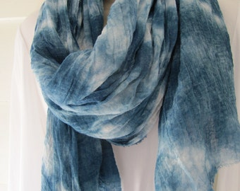 Indigo-dyed tied resist harem cloth cotton gauze scarf, 29 x 72 inches