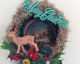 CLEARANCE SALE 50% OFF,  XMASC50 code Kitsch vintage retro handmade christmas shadow box diorama with vintage deer and gold tinsel