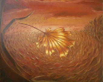 """Original oil painting, oil on particleboard, hand painted, 19""""x 19'' (50*50 cm)  autumn's copper"""