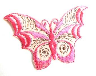 Butterfly applique, 1930s vintage embroidered applique. Vintage patch, sewing supply. Applique, Crazy quilt #642GC1K6