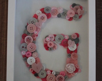 Personalized Button Art, Personalized Nursery Wall Art, Baby Shower, Framed Nursery Art, Button Initial, Button Monogram in Shadowbox Frame
