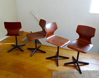 4 Pagwood Pagholz chairs from the 60s