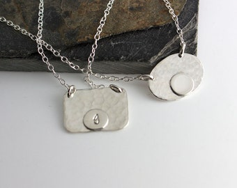 Silver Rectangular Disc Necklace,Delicate Silver Jewelry,Dainty Silver Necklace,Minimalist Necklace,Simple Necklace,Layered Necklace
