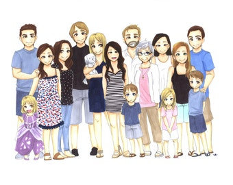 Custom Group Portrait. Best friends portrait, cute anime portrait, birthday present, Valentine's gift, gift for a friend