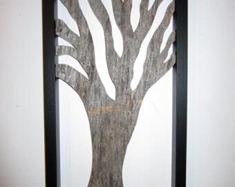 Framed barnwood tree wall art