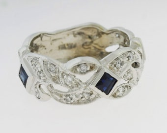 14k  Blue Sapphire  0.38 ct Diamond Anniversary Band - Diamond Sapphire Band - September Birthstone