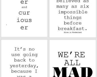 Alice in Wonderland Prints, Set of Four 8.5x11 Prints, Minimalist Typographic Prints, Quote Prints, Children's Room Prints