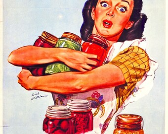 Of Course I Can! I'm Patriotic As Can Be and Ration Points Won't Worry Me! Vintage Poster Reproduction - Canning Poster WWII