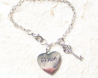 handstamped bracelets / aledi / name bracelet / alluminium/ heart