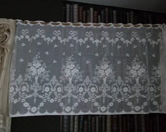 Vintage Josephine cotton cafe curtain Nottingham lace valance bris-bise crafts