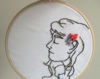 "7"" Embroidery Hoop of Flowered Girl"