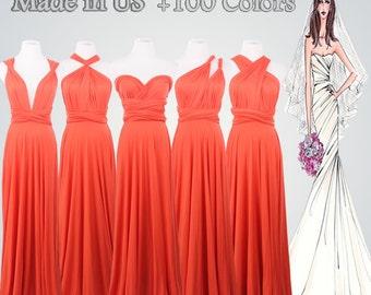 Coral Convertible Dress,Full-Length Convertible Dress,Coral Dress,Convertible Dresses,Wrap Convertible Dress
