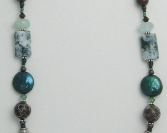 Mariposite dinosaur bone necklace 132
