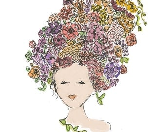 8x10 Flowers in her hair (ready to frame)