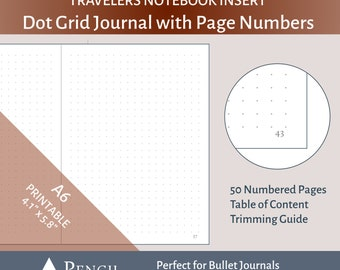 A6 TN Dot Grid Bullet Journal Insert with Page Numbers - Printable for Tiny Travelers Notebooks