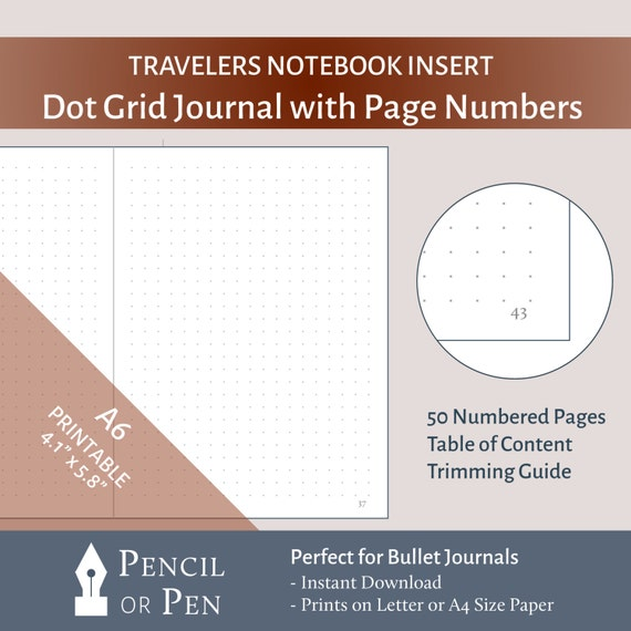 Dot Calendar Bullet Journal : A tn dot grid bullet journal insert with page numbers