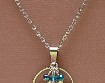 Silver and Glass Bird Necklace