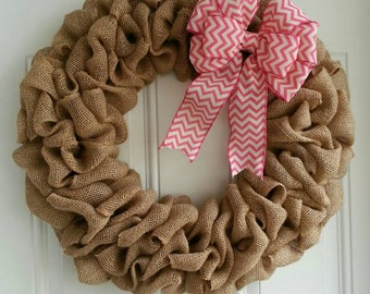 Large burlap wreath pink wreath pink bow Spring wreath fall wreath plain wreath rustic wreath chevron bow. Breast cancer awareness.
