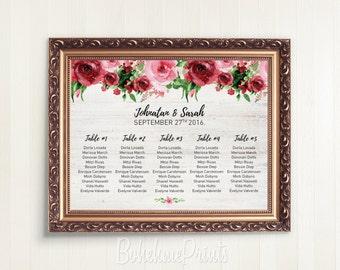 Wedding Seating Sign Wedding Seating Chart Template Printable Wedding Table Seating Chart Printable File Customized Seating Plan Download