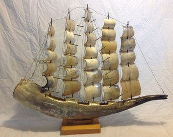 Handmade Clipper Ship crafted from Horn, clipper ship, antique clipper ship, made in England, steer horn ship