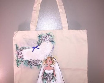 Bride tote bag. Natural canvas. Personalization avail.