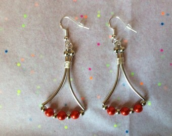 Red fashion earrings