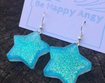 Magical glitter star earrings resin jewelry resin jewellery cute kawaii sparkly fairy kei harajuku blue seafoam handmade fashion pastel