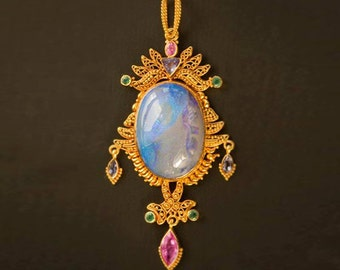 Royal 22K Gold Pendant With Australian Opal Emeralds Tanzanites And Dangling Pink Sapphire- Multi Gemstone Pendant- High End Jewelry