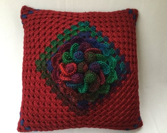 "Crochet cushion, flower pillow, decorative pillow, Christmas cushion,burgundy cushion,Flower cushion, 17"" cushion, insert included"
