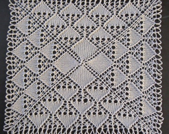 Knitted Lace Doily in Cream Cotton