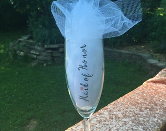 Maid of honor champagne glass