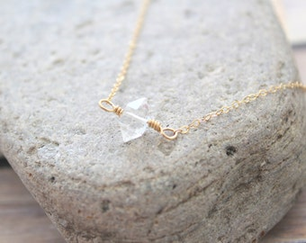 LAUREN - Natural Sparkly Herkimer Diamond, AA 10mm, Gold Filled 1.2mm Cable Chain, Necklace