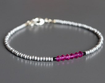 "Pink Crystal Seed Bead Bracelet, Friendship Bracelet, Stacking Bracelet: ""True Colors"" in Pink"