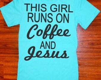 Coffee and Jesus Heather T-Shirt// Women's Heather Shirt//Ladies Heather Shirt//SM-3XL