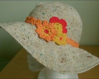 Sun hat, crochet hat, summer hat, brimmed hat,