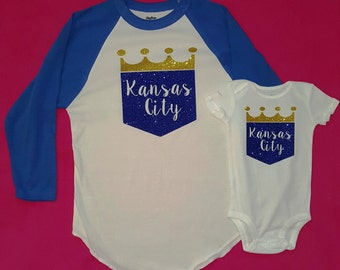 Mommy and Me, Mommy and Mini, Mommy and Daughter, Kansas City Royals, Glitter, Baby Shower Gift, Mother's Day Gift, Matching Shirts,