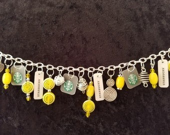 Bracelet made from Starbucks gift cards. Handmade bracelet from reclaimed Starbucks gift cards. #632