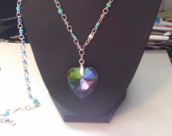rainbow spectrum heart with handbeaded chain