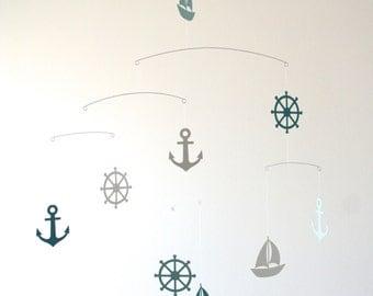 Nautical Mobile - Blue Grey - Sailboats Anchors & Ship's Wheels - Modern Scandinavian Home Decor - Baby Nursery Home Office - Balanced Art