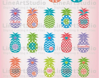 Monogram SVG Chevron Pineapple - Svg Files - SVG Cutting Files - Cutting Files for Silhouette Cameo or Cricut - Instant Download -