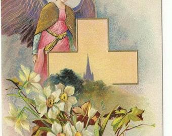Easter Postcard: 1912 Easter Angel & Cross